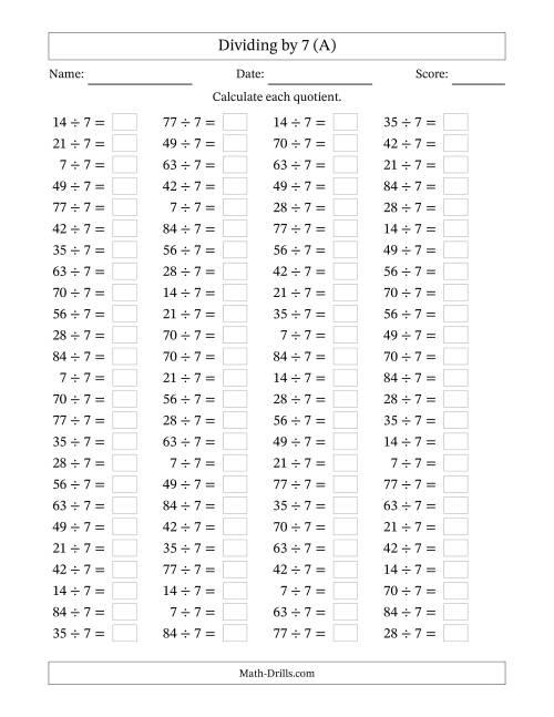 Individual Division Fact 7 A Division Worksheet – Maths Drills Worksheets