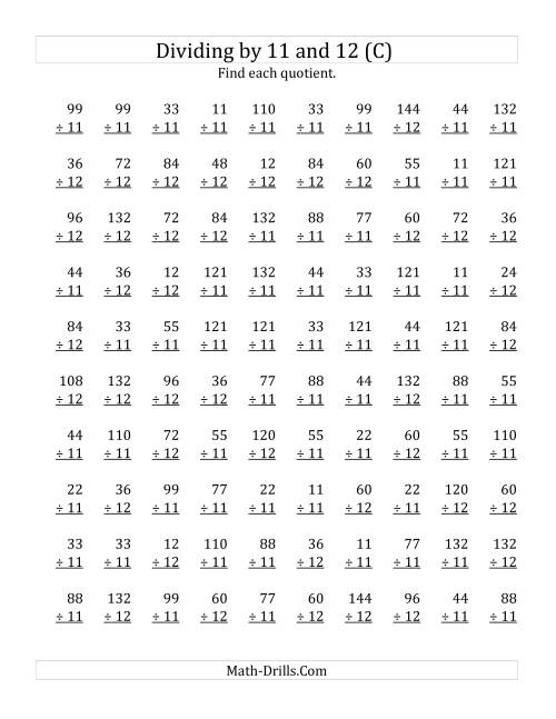 The Dividing by 11 and 12 (Quotients 1 to 12) (C) Math Worksheet