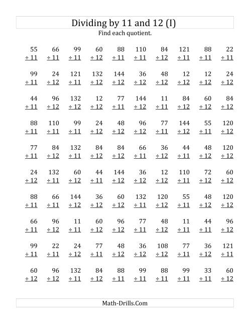 The Dividing by 11 and 12 (Quotients 1 to 12) (I) Math Worksheet