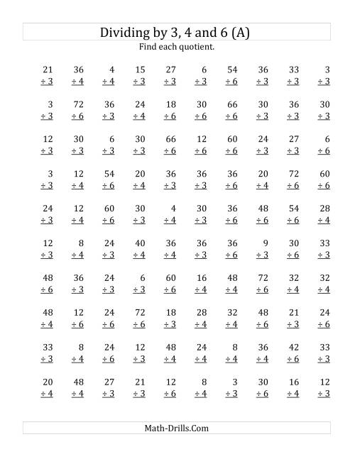The Dividing by 3, 4 and 6 (Quotients 1 to 12) (A) Math Worksheet