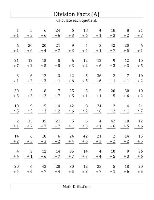 The Vertically arranged division facts to 49 (A) Math Worksheet
