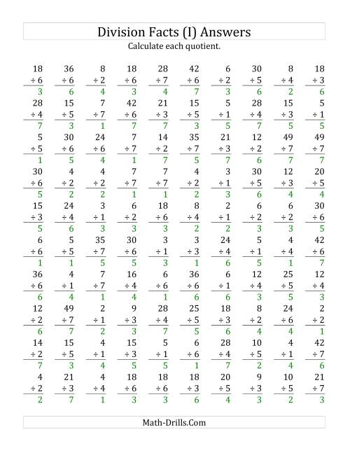 The Vertically arranged division facts to 49 (I) Math Worksheet Page 2
