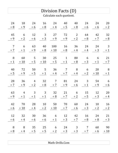 The Vertically arranged division facts to 100 (D) Math Worksheet