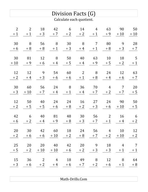 The Vertically arranged division facts to 100 (G) Math Worksheet