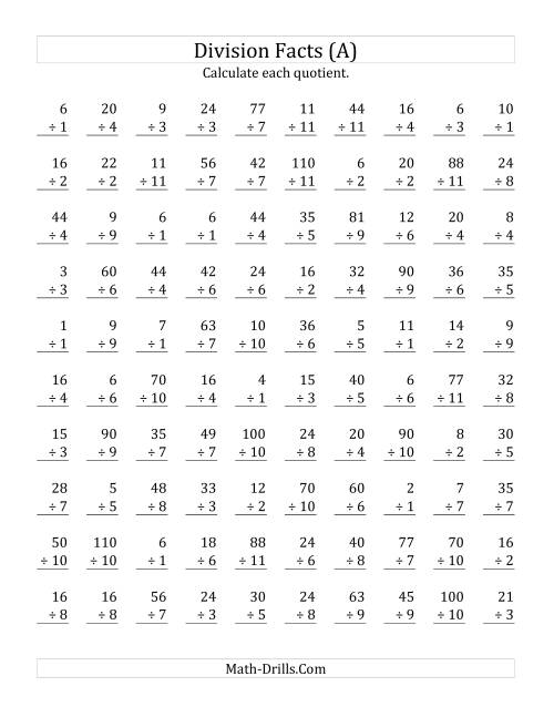 The Vertically arranged division facts to 121 (A) Math Worksheet