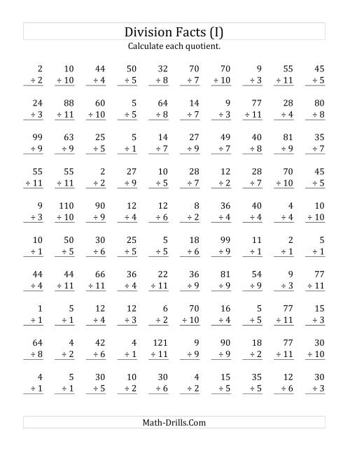 The Vertically arranged division facts to 121 (I) Math Worksheet