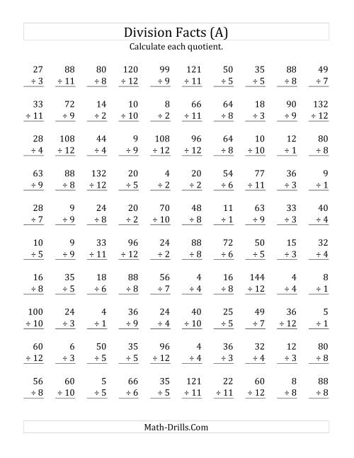 The Vertically arranged division facts to 144 (A) Math Worksheet
