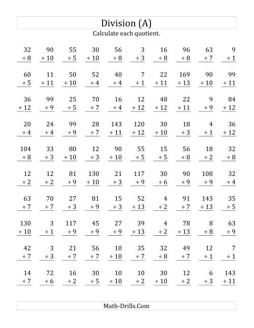 The Vertically arranged division facts to 169 (A) Math Worksheet