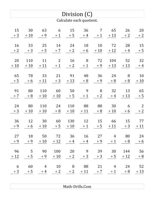 The Vertically arranged division facts to 169 (C) Math Worksheet