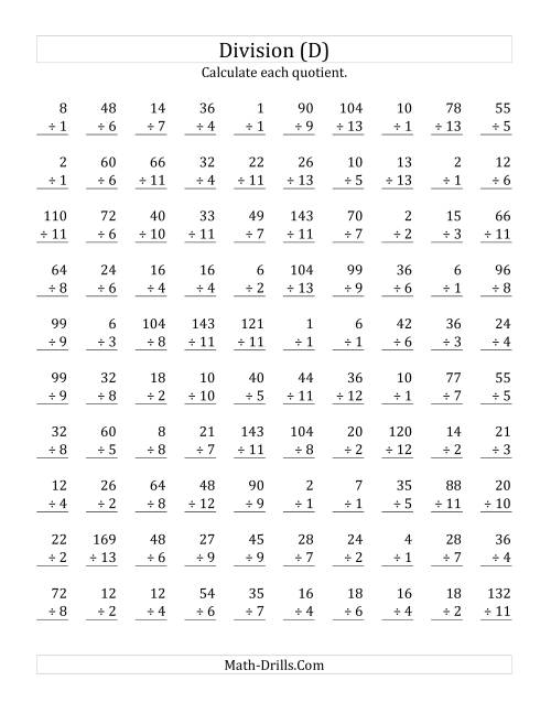 The Vertically arranged division facts to 169 (D) Math Worksheet