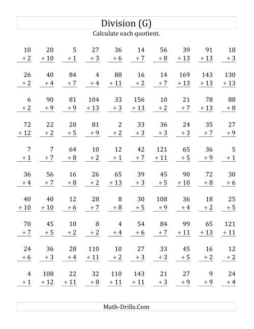The Vertically arranged division facts to 169 (G) Math Worksheet