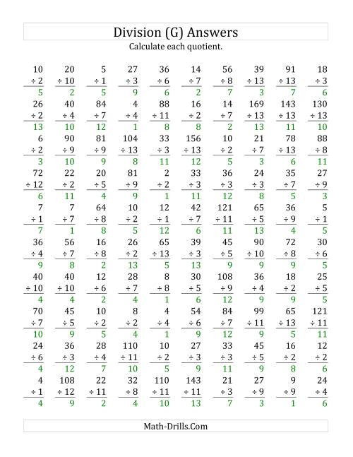 The Vertically arranged division facts to 169 (G) Math Worksheet Page 2