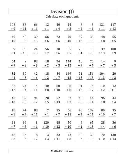 The Vertically arranged division facts to 169 (J) Math Worksheet