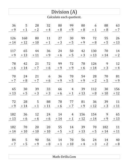 The Vertically arranged division facts to 196 (A) Math Worksheet