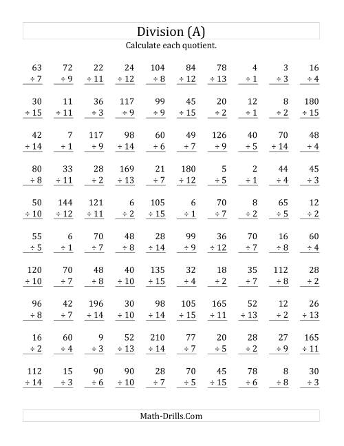 Printables Division Worksheets vertically arranged division facts to 225 a worksheet the worksheet