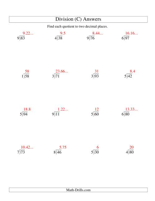 The Long Division - One-Digit Divisor and a Two-Digit Dividend with a Decimal Quotient (C) Math Worksheet Page 2