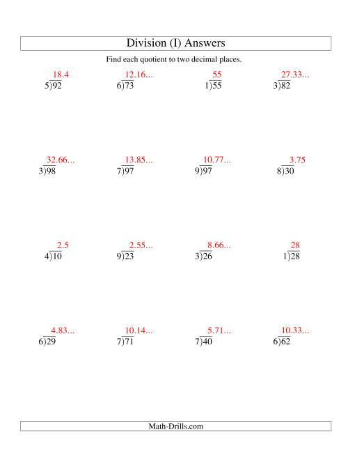 The Long Division - One-Digit Divisor and a Two-Digit Dividend with a Decimal Quotient (I) Math Worksheet Page 2