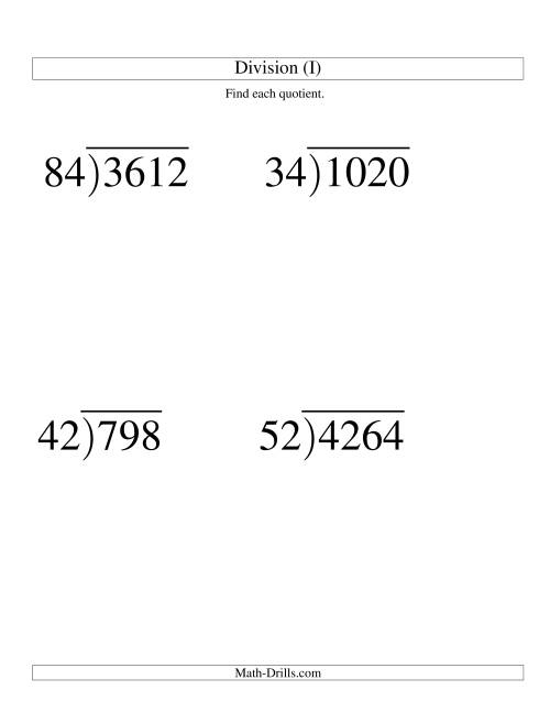 The Long Division - Two-Digit Divisor and a Two-Digit Quotient with No ...