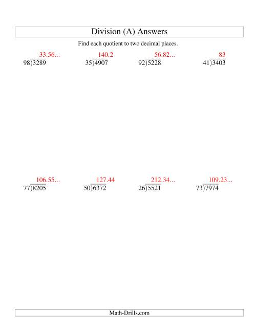 The Long Division - Two-Digit Divisor and a Four-Digit Dividend with a Decimal Quotient (A) Math Worksheet Page 2