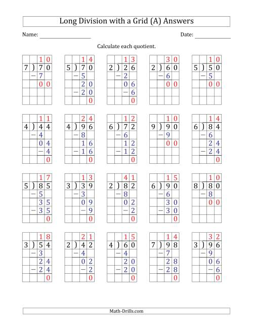 The 2-Digit by 1-Digit Long Division with Grid Assistance and Prompts and NO Remainders (A) Math Worksheet Page 2