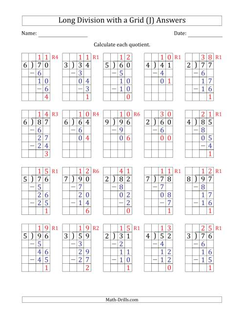 The 2-Digit by 1-Digit Long Division with Grid Assistance and Prompts and Remainders (J) Math Worksheet Page 2