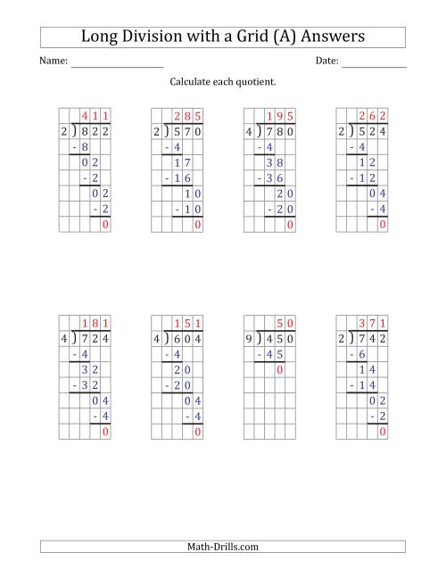 The 3-Digit by 1-Digit Long Division with Grid Assistance and NO Remainders (A) Math Worksheet Page 2