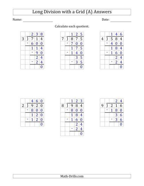 3-Digit by 1-Digit Long Division with Grid Assistance and ...