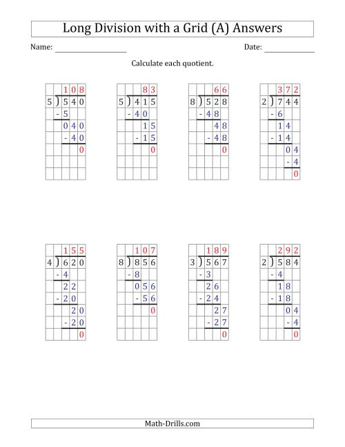The 3-Digit by 1-Digit Long Division with Grid Assistance and Prompts and NO Remainders (A) Math Worksheet Page 2