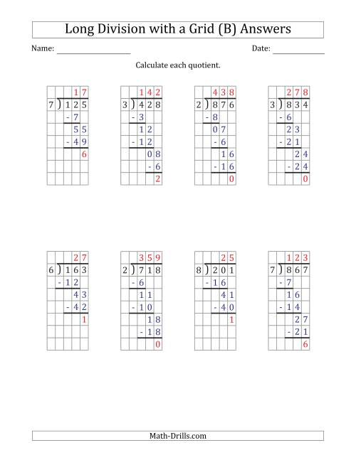 The 3-Digit by 1-Digit Long Division with Remainders with Grid Assistance and Prompts (B) Math Worksheet Page 2