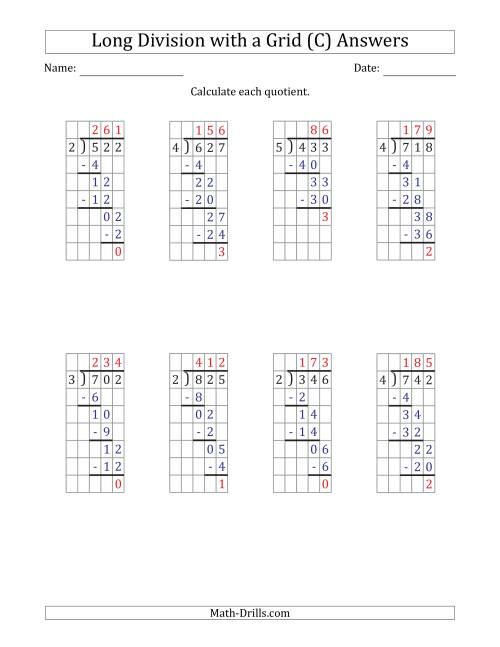 The 3-Digit by 1-Digit Long Division with Remainders with Grid Assistance and Prompts (C) Math Worksheet Page 2