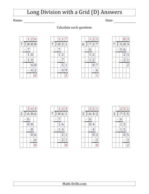 The 3-Digit by 1-Digit Long Division with Remainders with Grid Assistance and Prompts (D) Math Worksheet Page 2