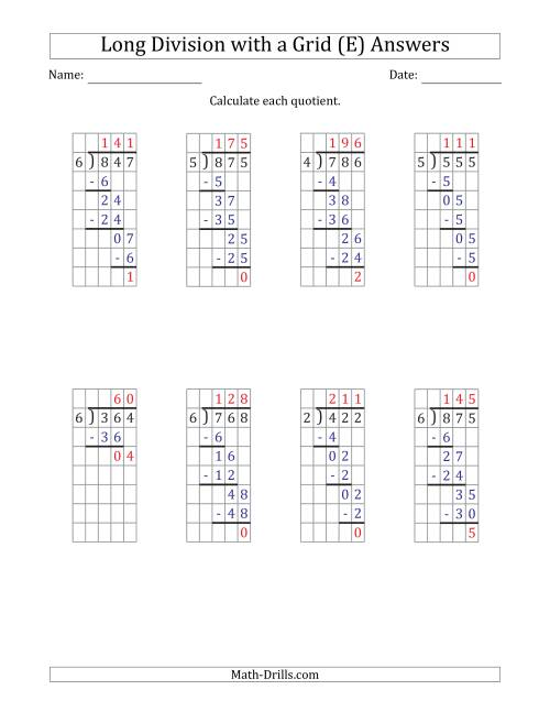 The 3-Digit by 1-Digit Long Division with Remainders with Grid Assistance and Prompts (E) Math Worksheet Page 2
