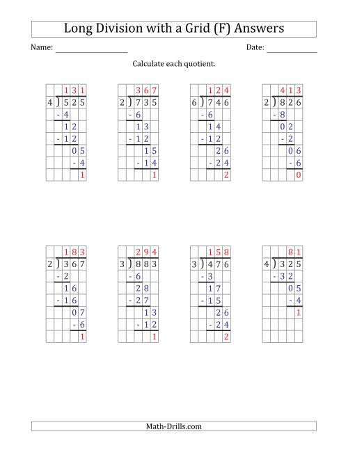 The 3-Digit by 1-Digit Long Division with Remainders with Grid Assistance and Prompts (F) Math Worksheet Page 2