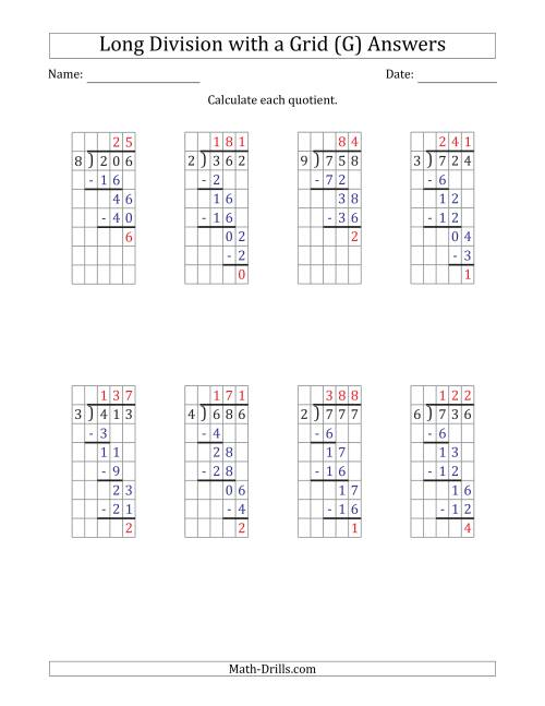 The 3-Digit by 1-Digit Long Division with Remainders with Grid Assistance and Prompts (G) Math Worksheet Page 2