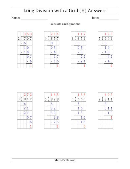 The 3-Digit by 1-Digit Long Division with Remainders with Grid Assistance and Prompts (H) Math Worksheet Page 2