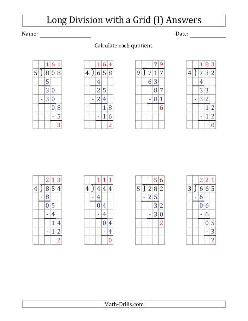 The 3-Digit by 1-Digit Long Division with Remainders with Grid Assistance and Prompts (I) Math Worksheet Page 2