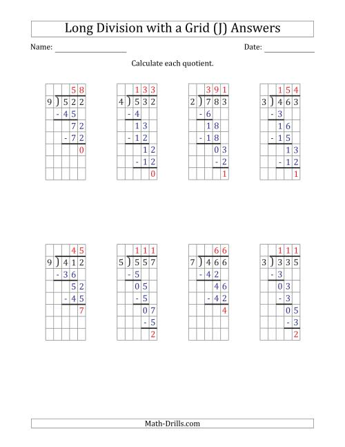 The 3-Digit by 1-Digit Long Division with Remainders with Grid Assistance and Prompts (J) Math Worksheet Page 2