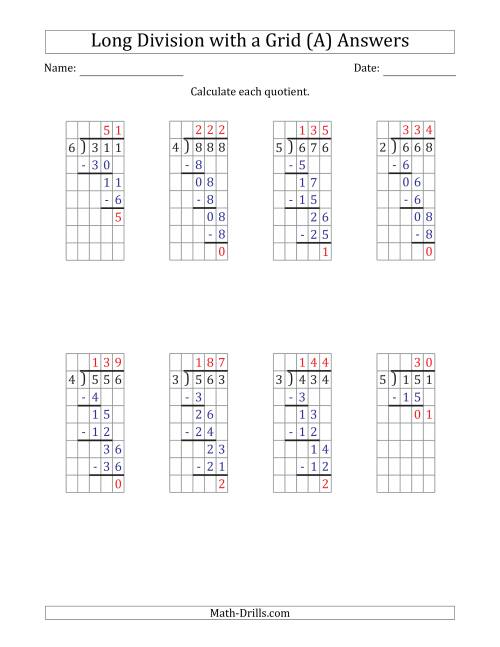 The 3-Digit by 1-Digit Long Division with Remainders with Grid Assistance and Prompts (All) Math Worksheet Page 2