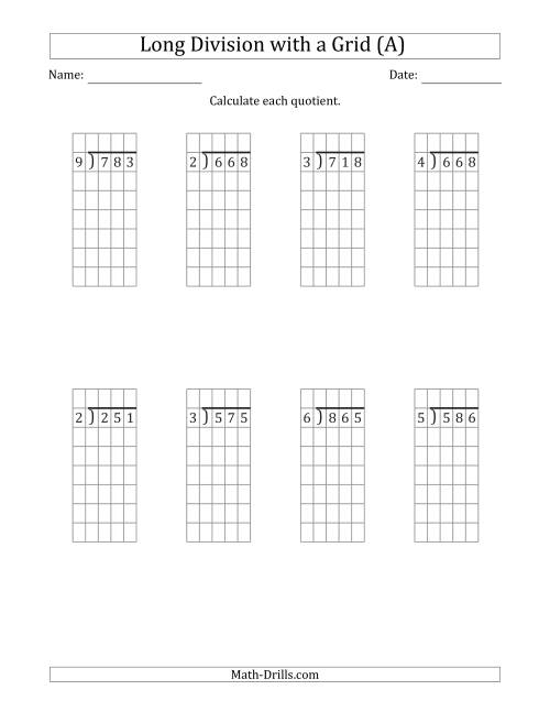 The 3-Digit by 1-Digit Long Division with Remainders with Grid Assistance (A) Math Worksheet