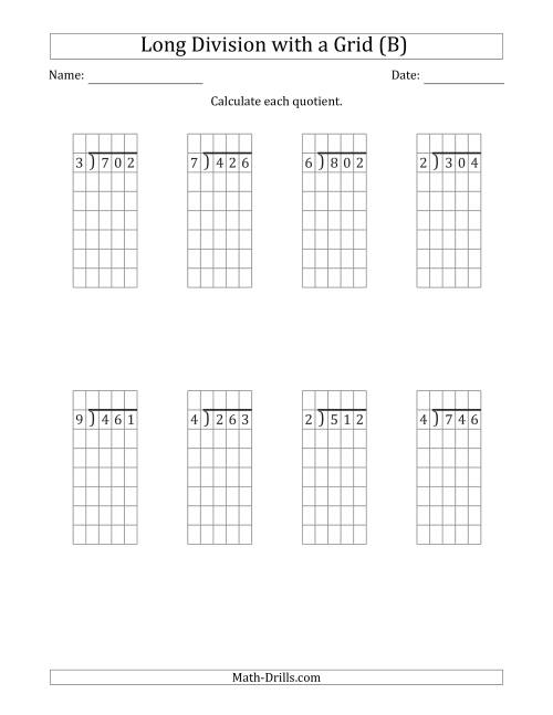 The 3-Digit by 1-Digit Long Division with Remainders with Grid Assistance (B) Math Worksheet