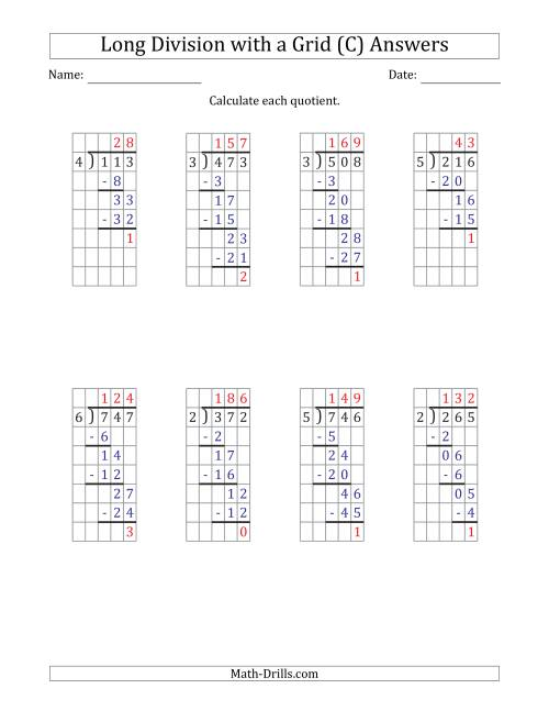 The 3-Digit by 1-Digit Long Division with Remainders with Grid Assistance (C) Math Worksheet Page 2
