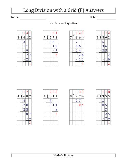The 3-Digit by 1-Digit Long Division with Remainders with Grid Assistance (F) Math Worksheet Page 2