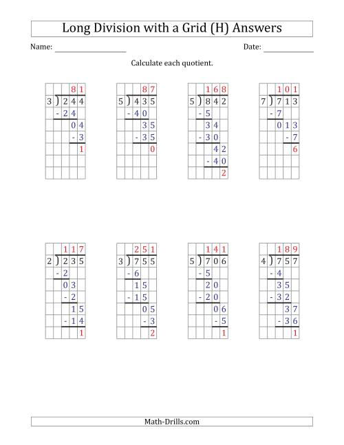The 3-Digit by 1-Digit Long Division with Remainders with Grid Assistance (H) Math Worksheet Page 2