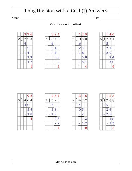 The 3-Digit by 1-Digit Long Division with Remainders with Grid Assistance (I) Math Worksheet Page 2