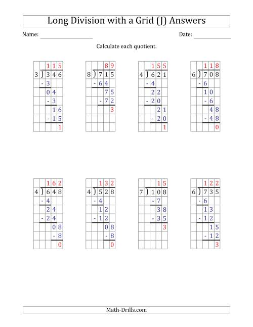 The 3-Digit by 1-Digit Long Division with Remainders with Grid Assistance (J) Math Worksheet Page 2