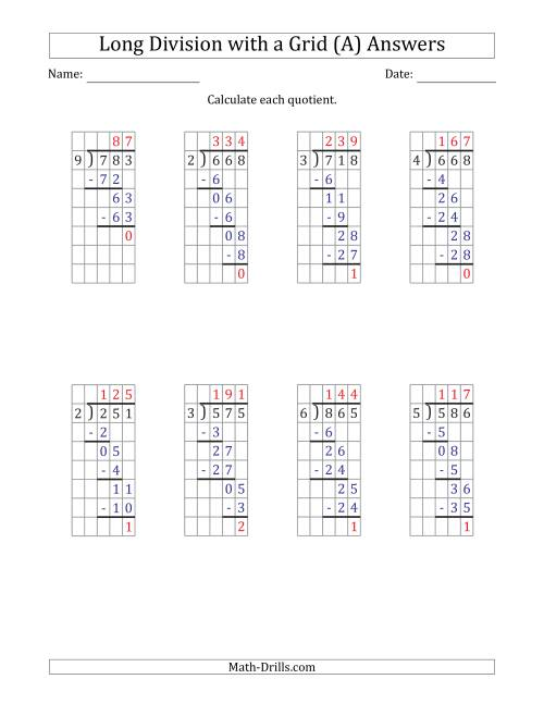 The 3-Digit by 1-Digit Long Division with Remainders with Grid Assistance (All) Math Worksheet Page 2