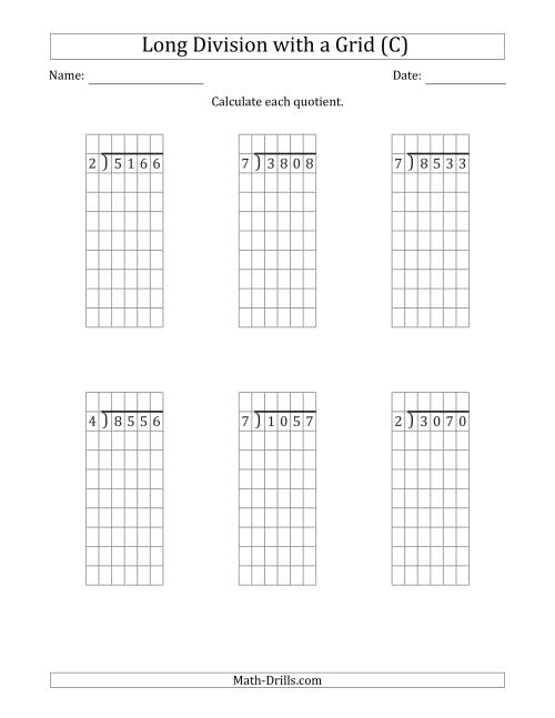 The 4-Digit by 1-Digit Long Division with Grid Assistance and NO Remainders (C) Math Worksheet