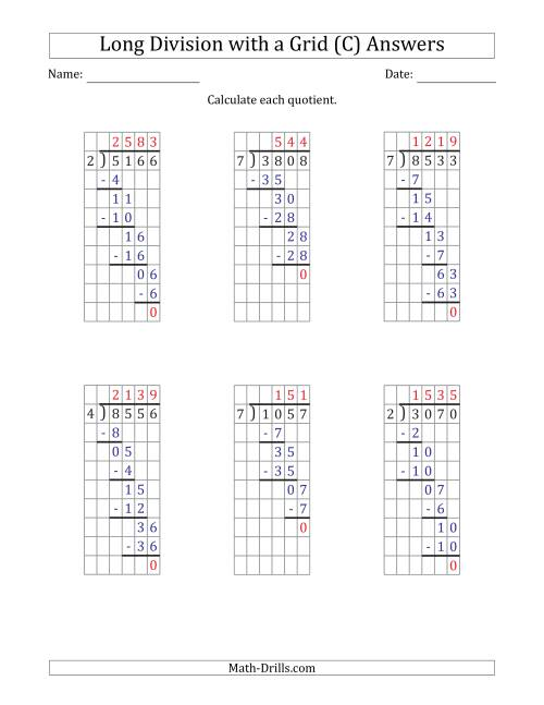 The 4-Digit by 1-Digit Long Division with Grid Assistance and NO Remainders (C) Math Worksheet Page 2