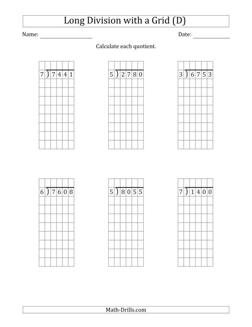 The 4-Digit by 1-Digit Long Division with Grid Assistance and NO Remainders (D) Math Worksheet