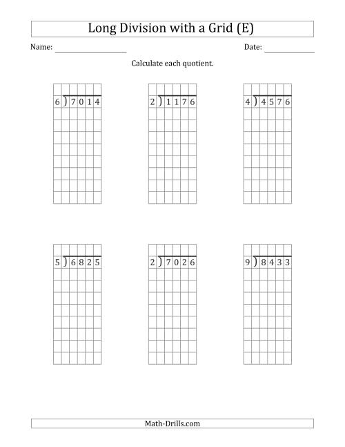The 4-Digit by 1-Digit Long Division with Grid Assistance and NO Remainders (E) Math Worksheet